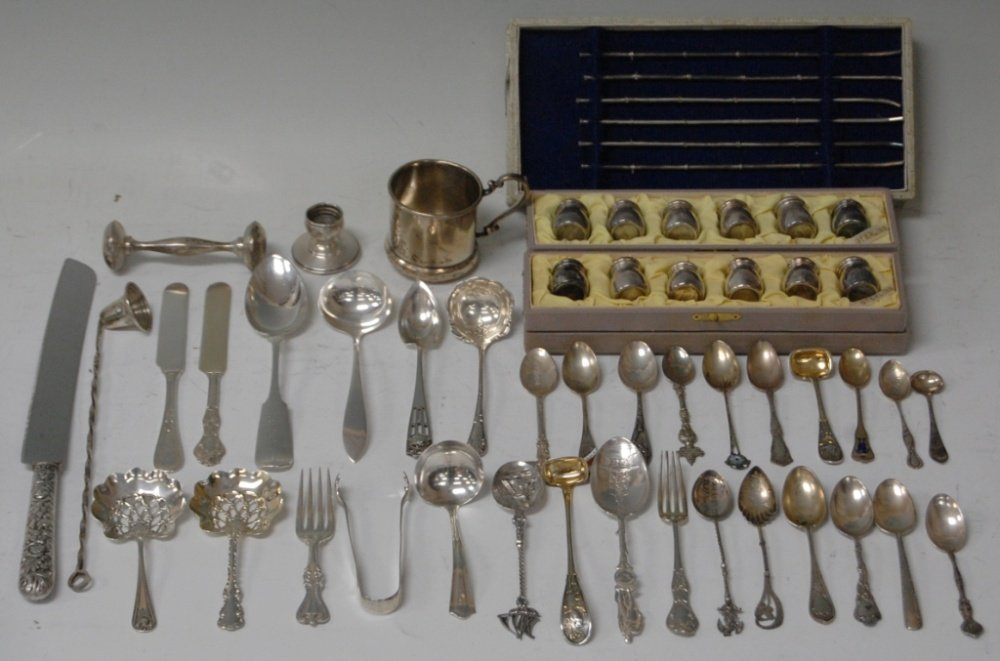 ASSORTMENT OF STERLING SILVER SPOONS, FORKS, SALTS