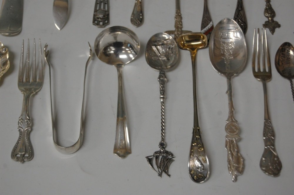 ASSORTMENT OF STERLING SILVER SPOONS, FORKS, SALTS - 3