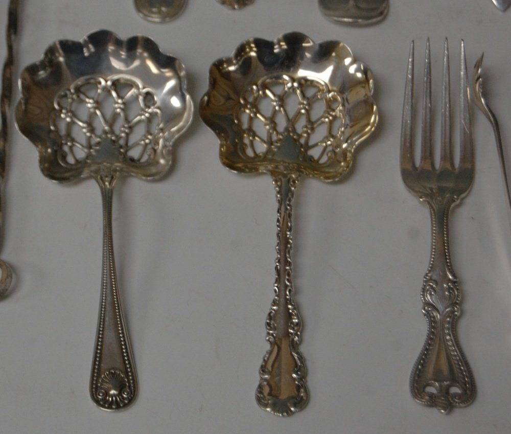 ASSORTMENT OF STERLING SILVER SPOONS, FORKS, SALTS - 4