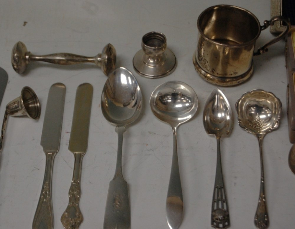 ASSORTMENT OF STERLING SILVER SPOONS, FORKS, SALTS - 5