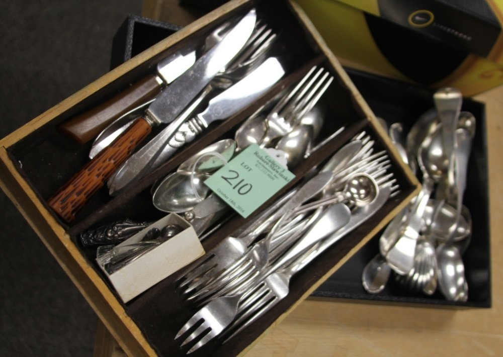 LOT OF COIN SILVER AND SILVERPLATE FLATWARE