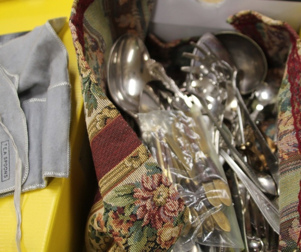 LOT OF COIN SILVER AND SILVERPLATE FLATWARE - 2
