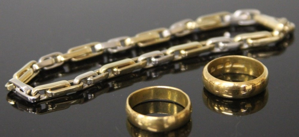 LOT OF (3) 14KT JEWELRY, RINGS AND BRACELET