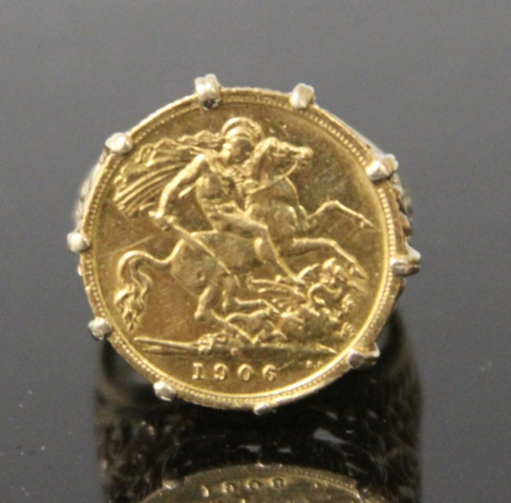 EDWARD VII 1906 GOLD COIN RING, SET IN 9KT