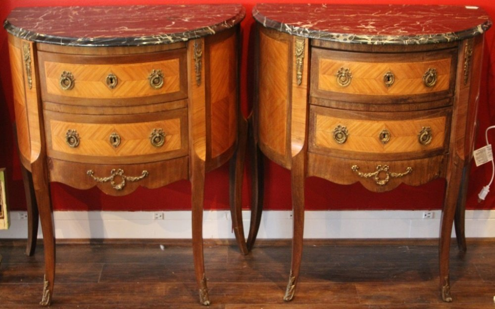 PAIR OF FRENCH MARBLE TOP HALF COMMODES