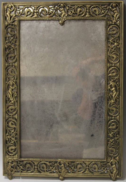 LATE 19TH CENTURY CAST BRASS WALL MIRROR