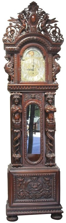 MONUMENTAL CARVED TALL CASE CLOCK WITH FIGURES