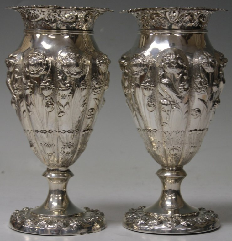 PAIR OF 19TH CENTURY SILVER VASES