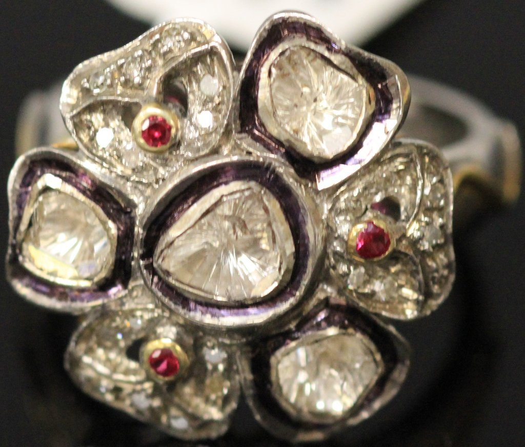 LADY'S 14KT GOLD AND SILVER RING WITH DIAMONDS