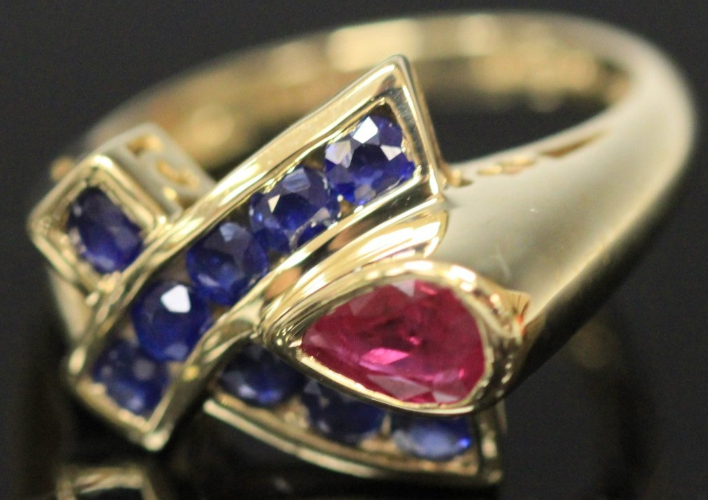 LADY'S  RUBY AND SAPPHIRE 14KT RING