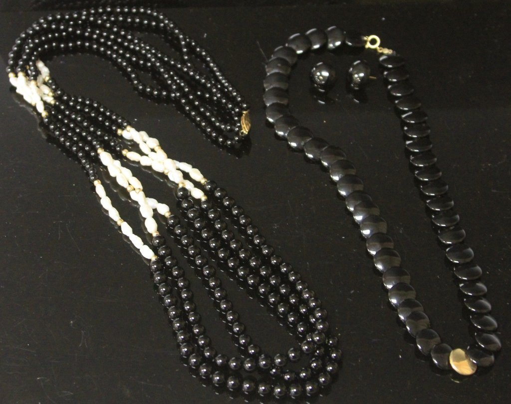 LOT OF (2) BLACK ONYX NECKLACES AND EARRINGS