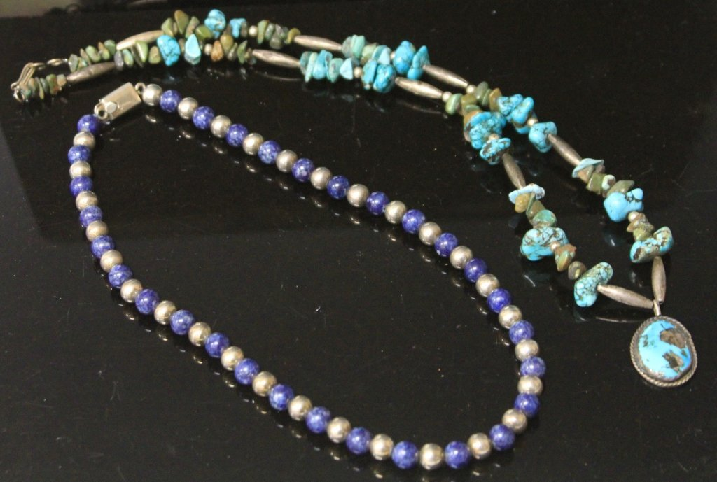 LOT OF (2) VINTAGE NECKLACES, TURQUOISE AND LAPIS