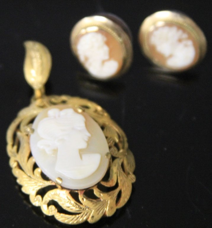 LOT OF (2) 14KT AND 23KT CAMEO SET