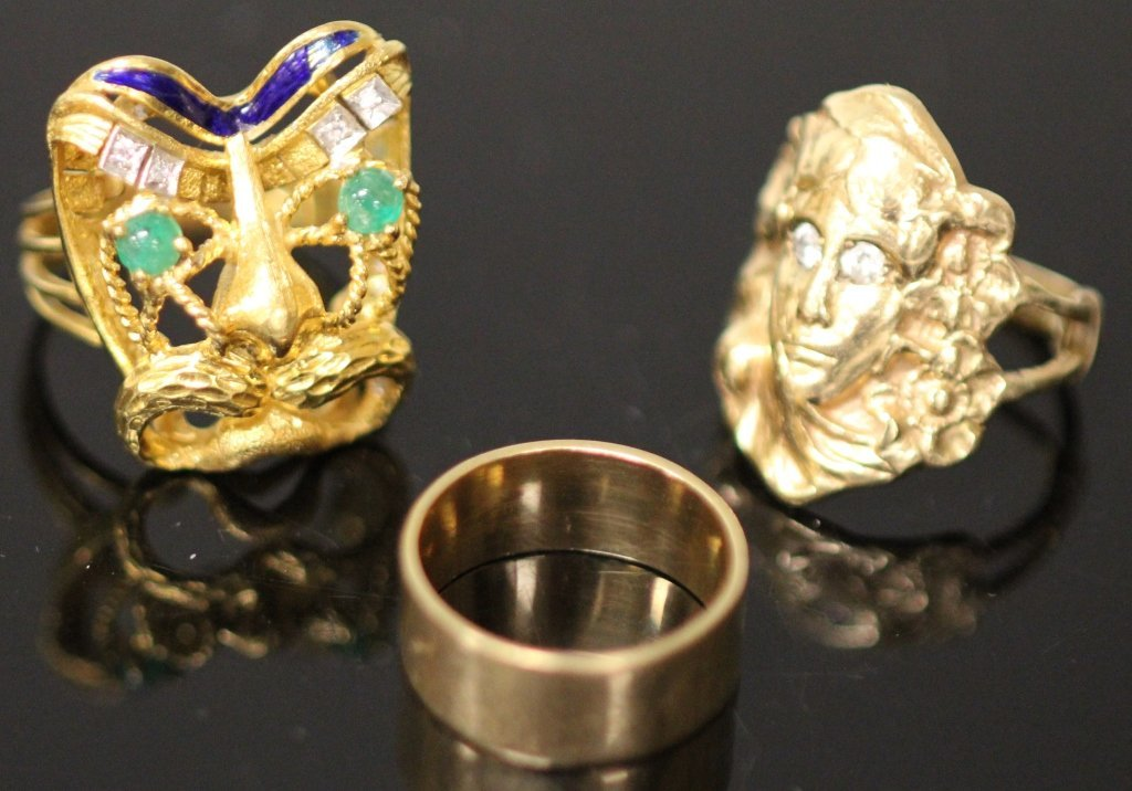 LOT OF (3) RINGS, 14KT AND 18KT