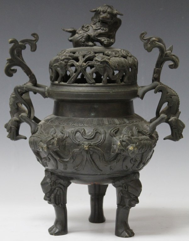 CHINESE CAST BRONZE CENSER WITH TRIPOD BASE