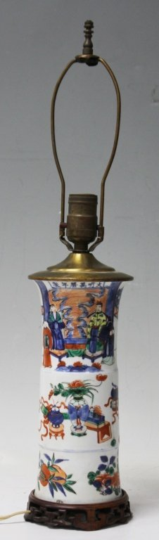 EARLY WUCAI PAINTED VASE, CONVERTED INTO LAMP