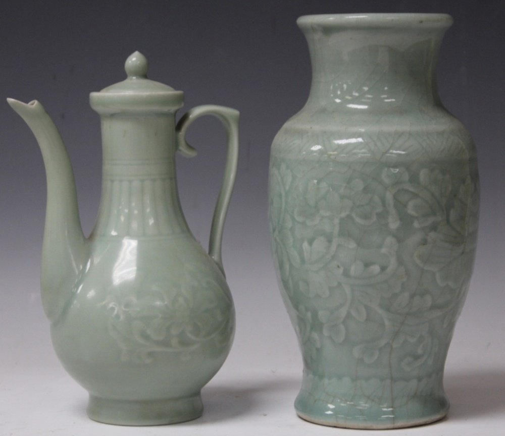 LOT OF (2) VINTAGE  CHINESE CELADON POTTERY