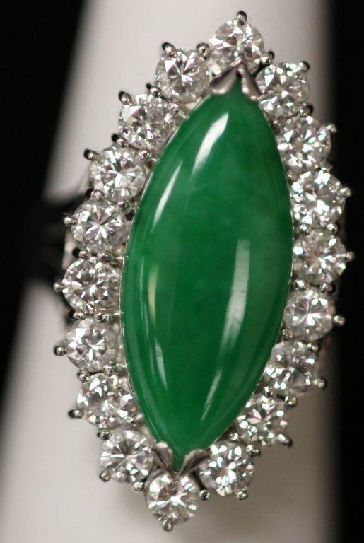 IMPERIAL JADE AND DIAMOND PLATINUM RING