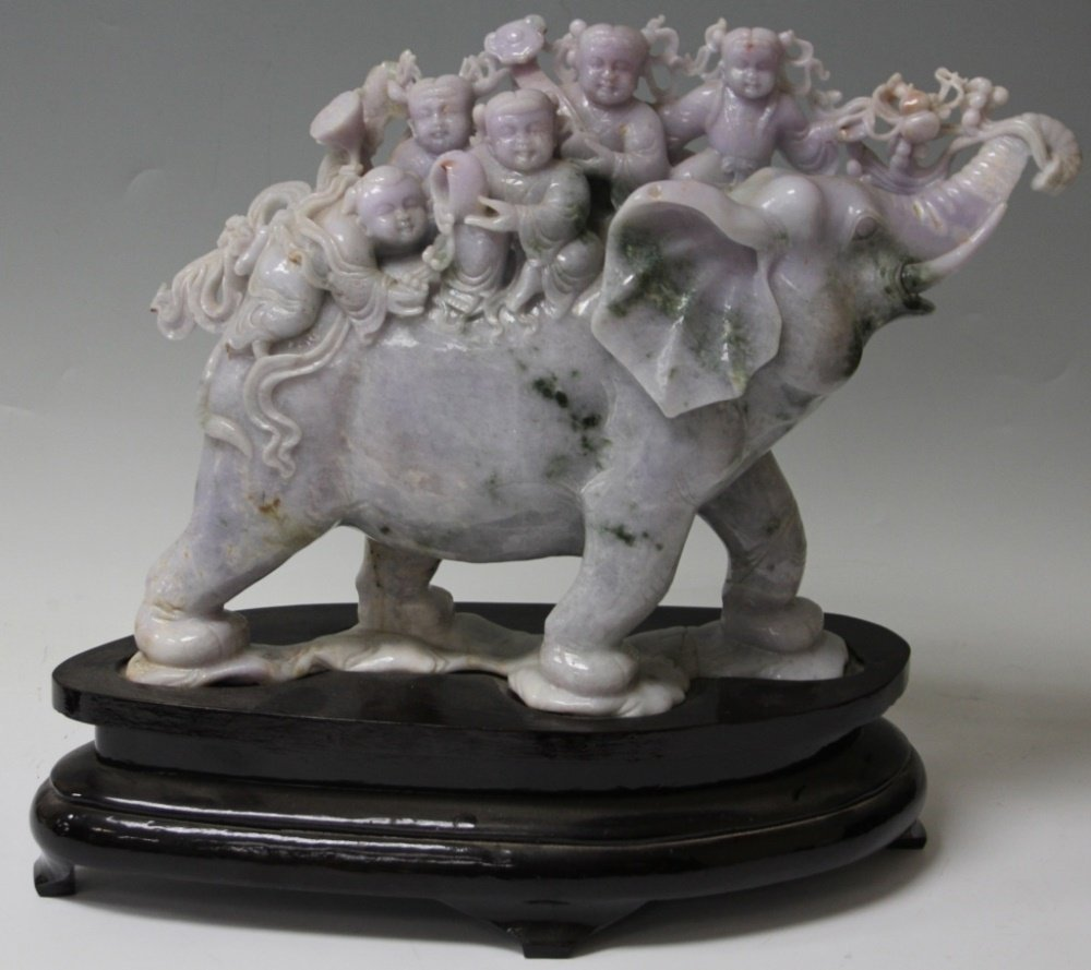 CHINESE CARVED JADE FIGURE OF ELEPHANT