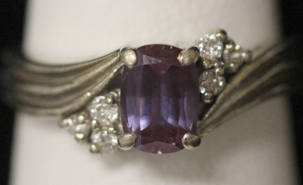 LADY'S WHITE GOLD ALEXANDRITE AND DIAMOND RING