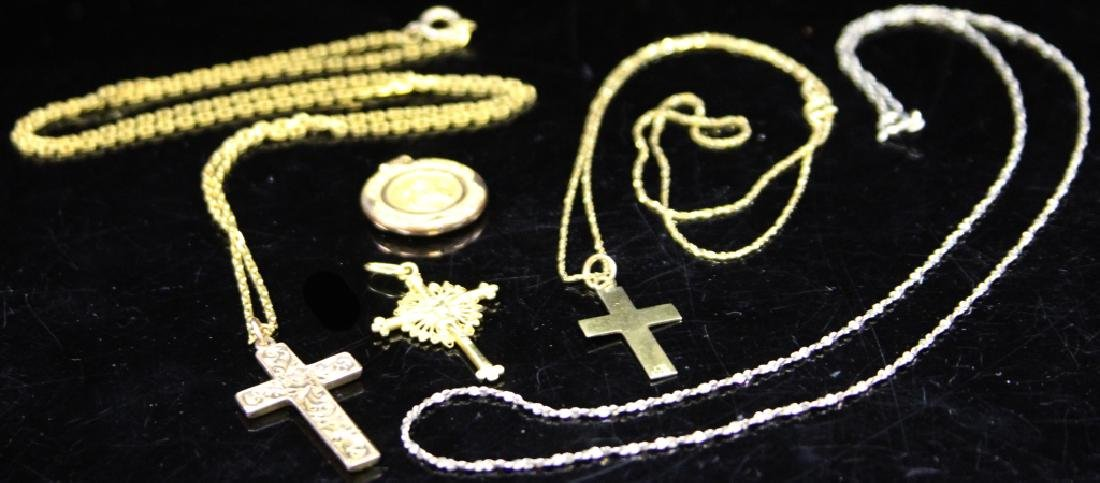 LOT OF (5) RELIGIOUS JEWELRY, PENDANTS & CHAINS