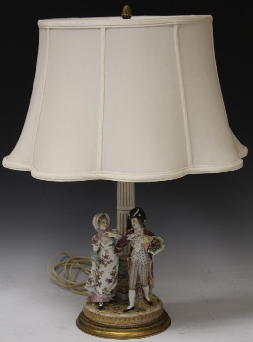 GERMAN PORCELAIN LAMP, 19TH CENTURY