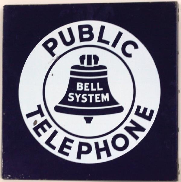 1: Classic Porcelain Public Phone Flange Sign