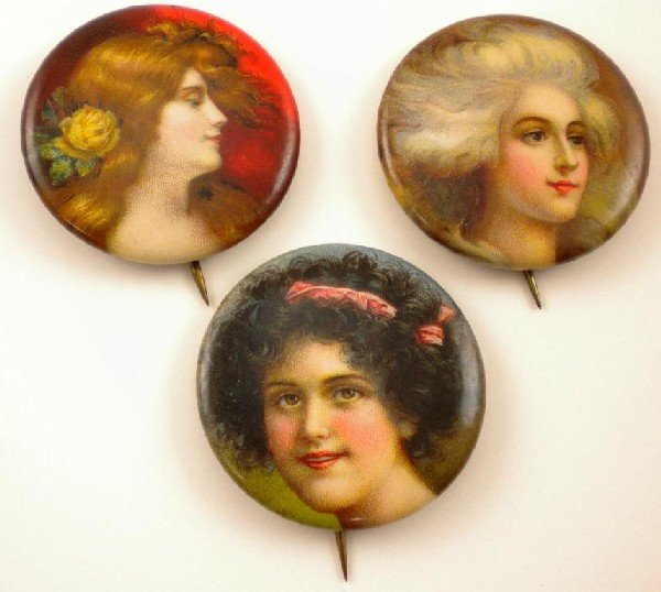 8: 3 Napoleon Tobacco Pinbacks of Victorian Woman