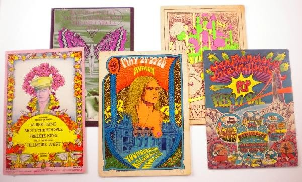 12: Five 1960s to '70s concert cards