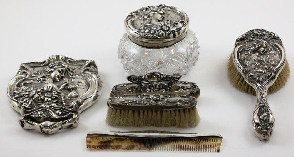 58: 6 Piece Art Nouveau Sterling Dresser Set