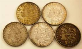 151: 5 Morgan Silver Dollars