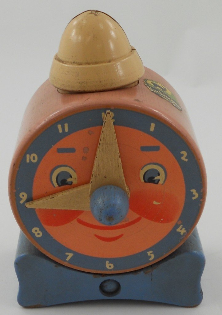 24: Vintage Wooden Toy Clock / Bank Circa 1940