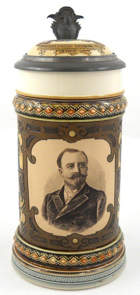 110: 1894 Mettlach Anheuser Busch Beer Stein #2136
