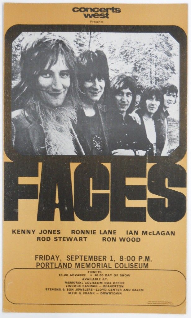 198: 1972 Faces Concert Poster - Rod Stewart - Ron Wood - Sep 13, 2011 |  Paige Auction in OR