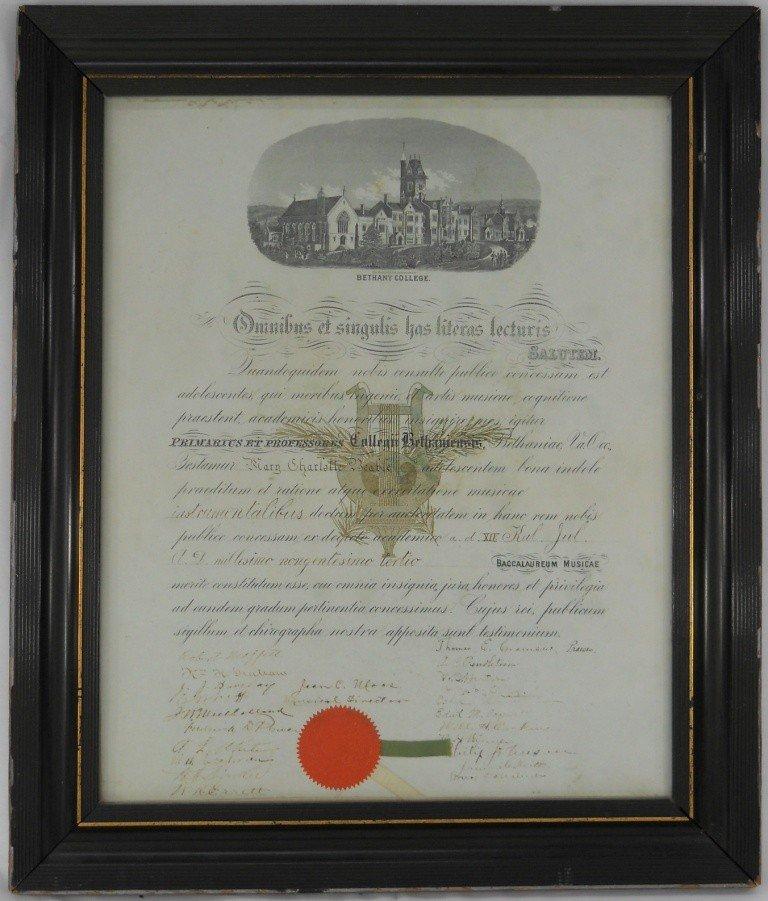 10: Framed Under Glass Musical Degree Certificate