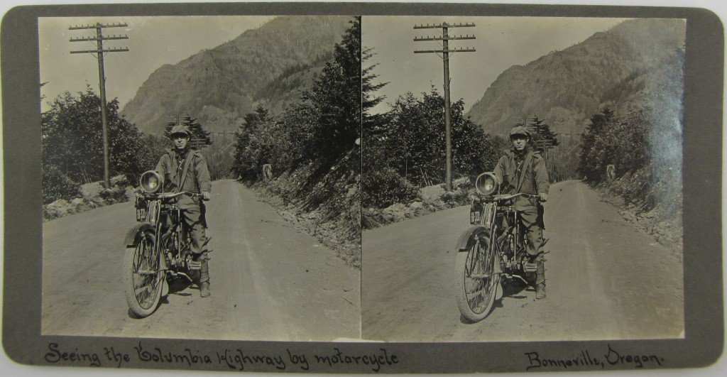 15: 1916 Motorcycle Stereo View Card