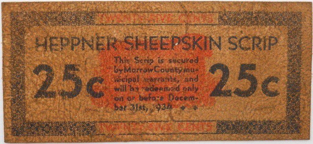 24: 1933-34 Heppner Sheepskin Scrip