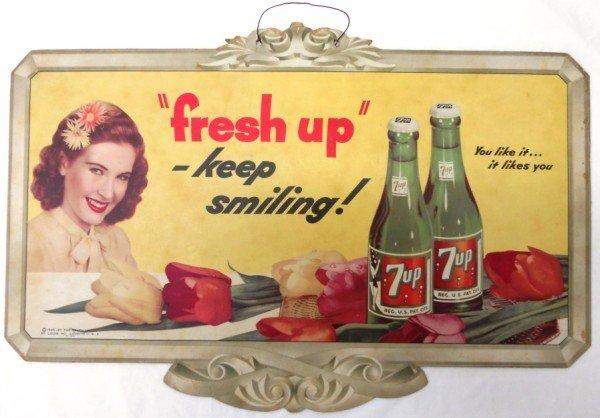 24: 7-Up Cardboard Sign 1945