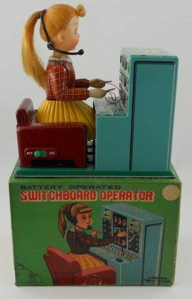 93: Linemar Tin Telephone Switchboard Operator toy with