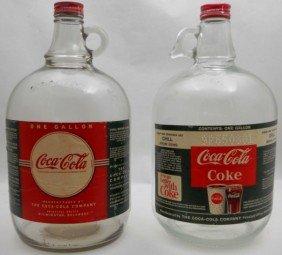 (2) One Gallon Glass Coca Cola Syrup Jugs