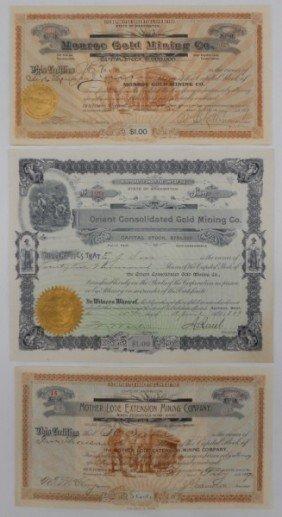 8: Three vintage Mining Stock Certificates