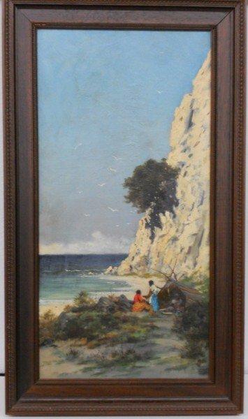 175: Jules Tavernier Painting 1880 Coast Scene