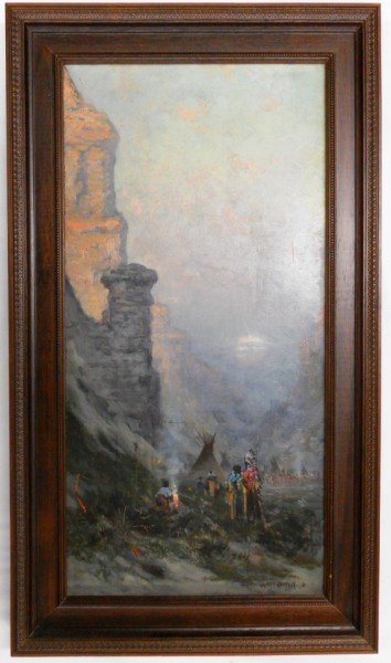 176: Jules Tavernier Painting 1880 Canyon / Camping Sce