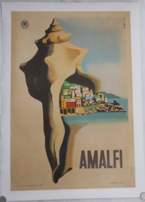 Amalfi 1950 Travel Poster