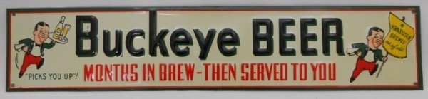 132: Buckeye Beer Embossed Tin Sign