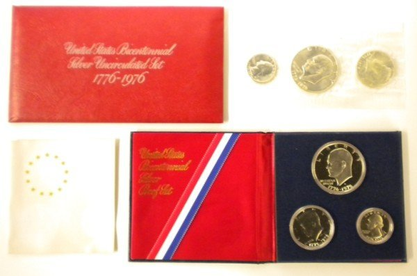 143: Pair of 1976 Silver 3 Piece Coin Sets