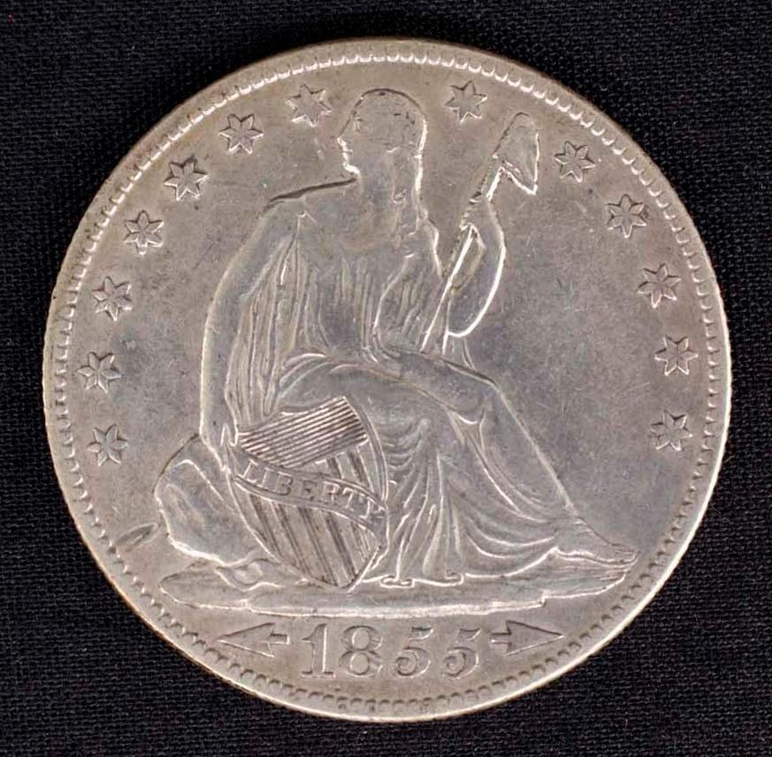 Seated Liberty United States Half Dollar - 1855 O
