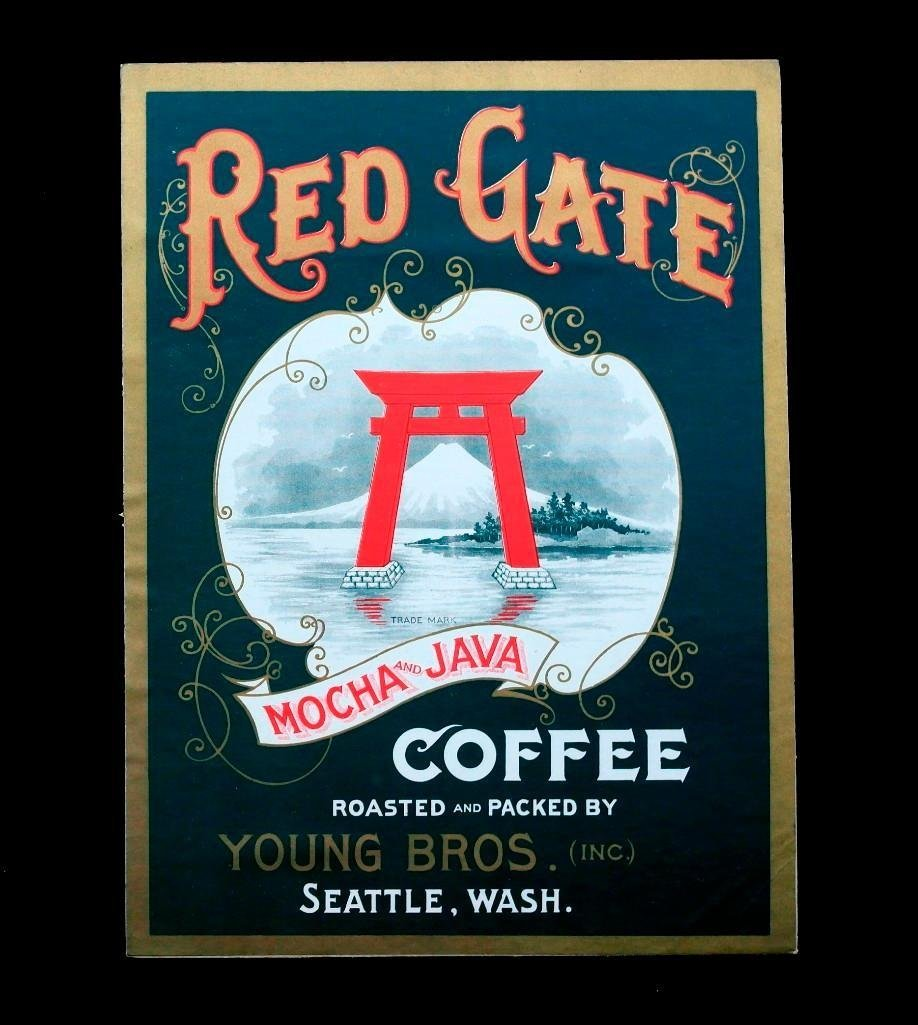 Vintage Red Gate Coffee Sign - Old & Original -