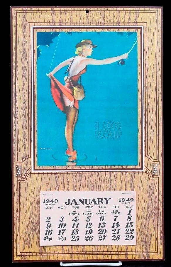 Vintage 1949 Pin-Up Calendar - Gil Elvgren Art