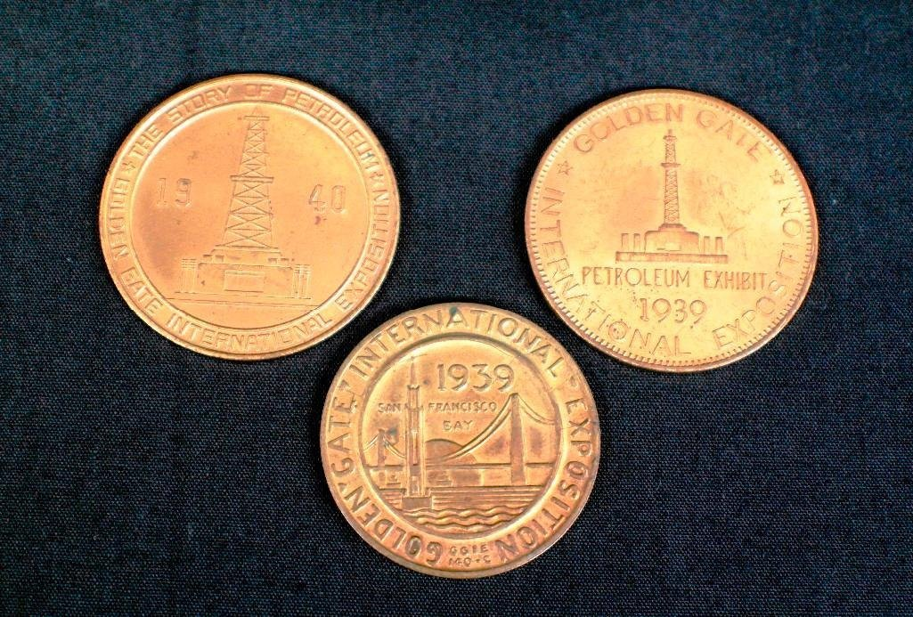 Set of Three Elongated Cents / Pennies - 1939-1940
